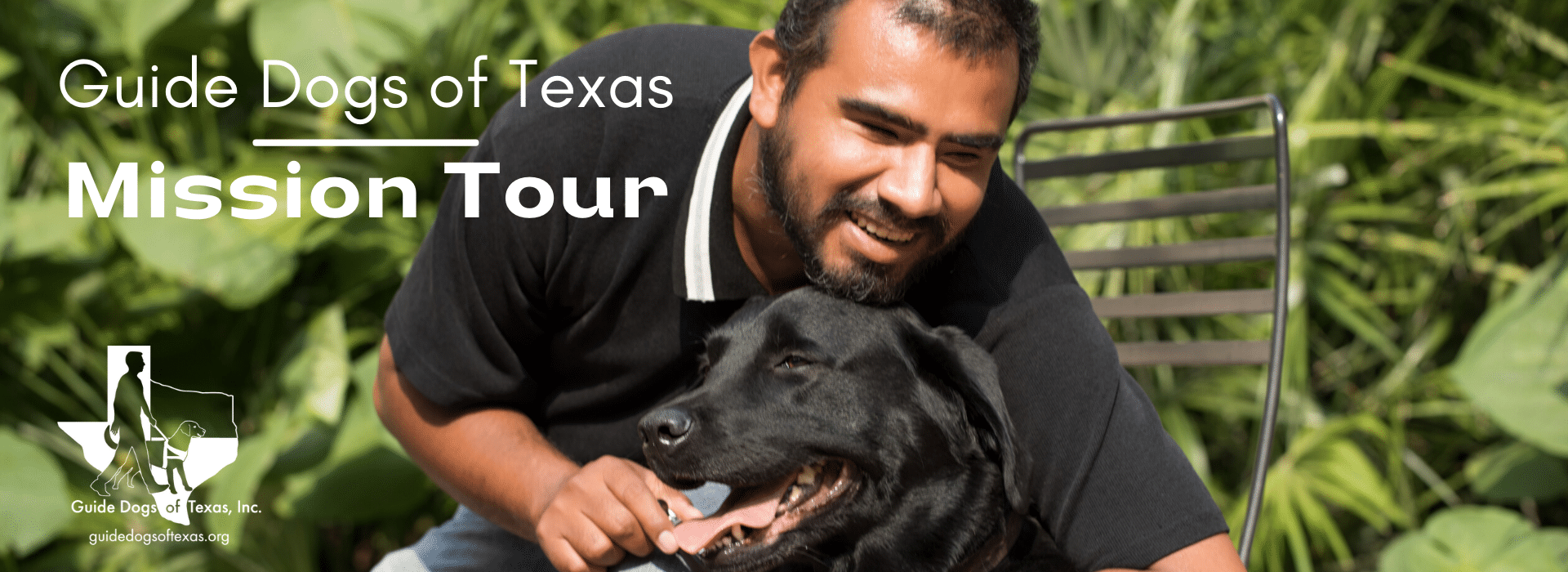 Guide Dogs of Texas -- Mission Tour, GDTX Logo, Image is of GDTX Client smiling with his guide dog