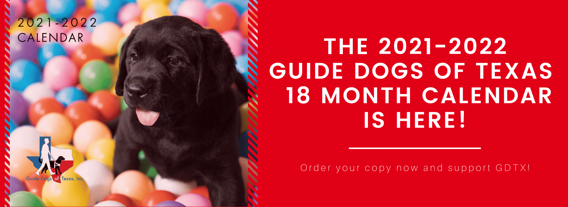 The 2021-2022 Guide dogs of Texas 18 month Calendar is Here!
